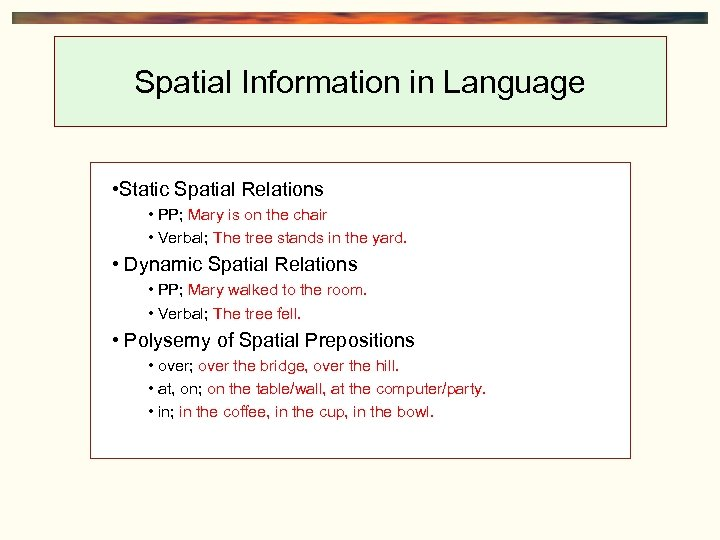 Spatial Information in Language • Static Spatial Relations • PP; Mary is on the