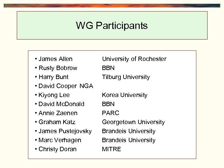WG Participants • James Allen • Rusty Bobrow • Harry Bunt • David Cooper