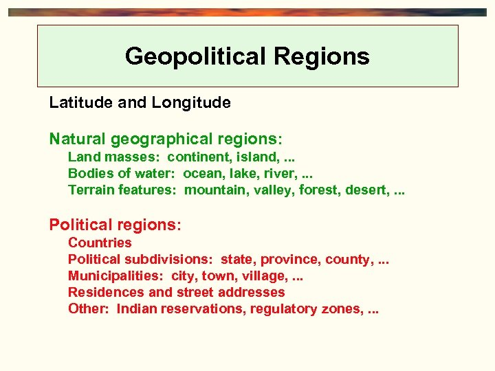 Geopolitical Regions Latitude and Longitude Natural geographical regions: Land masses: continent, island, . .