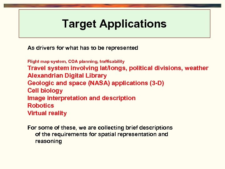 Target Applications As drivers for what has to be represented Flight map system, COA