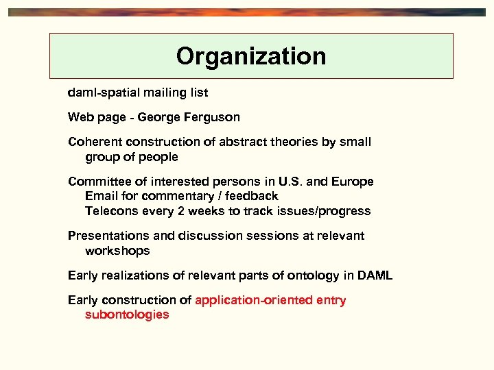Organization daml-spatial mailing list Web page - George Ferguson Coherent construction of abstract theories