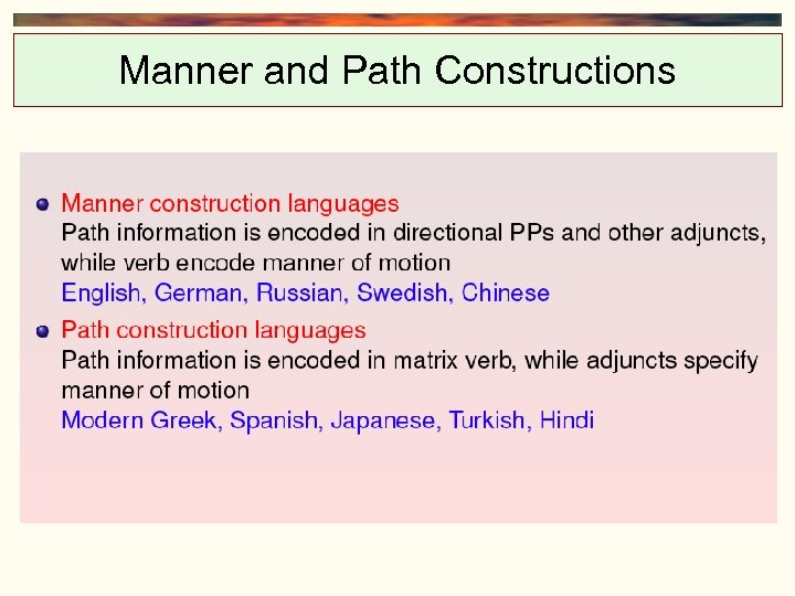 Manner and Path Constructions