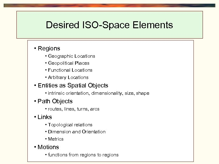 Desired ISO-Space Elements • Regions • Geographic Locations • Geopolitical Places • Functional Locations