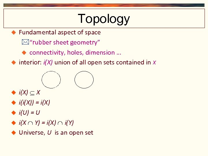 """Topology Fundamental aspect of space """"rubber sheet geometry"""" connectivity, holes, dimension … interior: i(X)"""