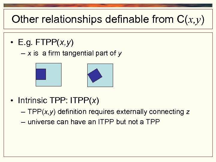 Other relationships definable from C(x, y) • E. g. FTPP(x, y) – x is