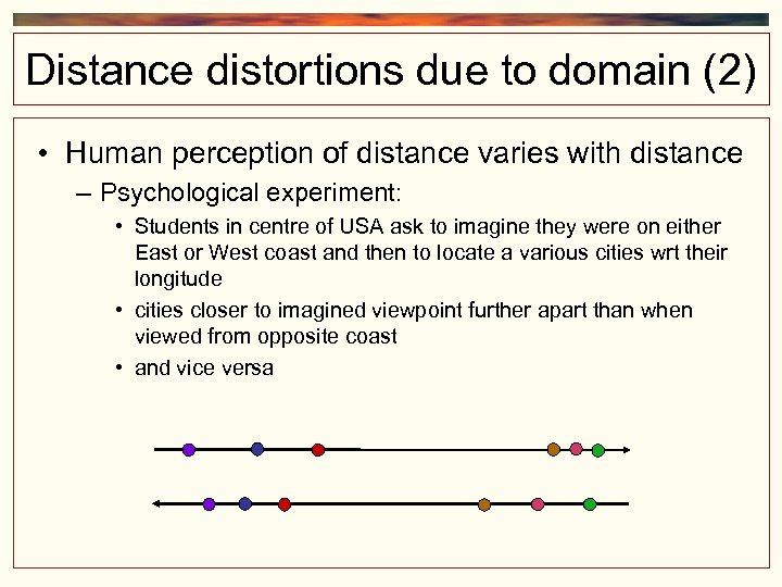 Distance distortions due to domain (2) • Human perception of distance varies with distance