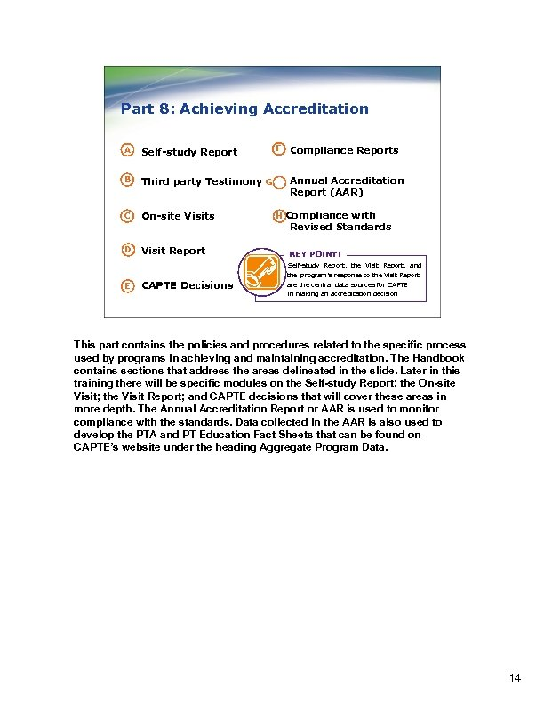 Part 8: Achieving Accreditation F A Self-study Report B Third party Testimony G C
