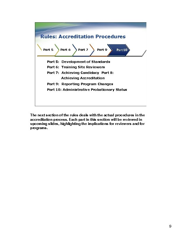 Rules: Accreditation Procedures Part 5 Part 6 Part 7 Part 89 Part 10 Part