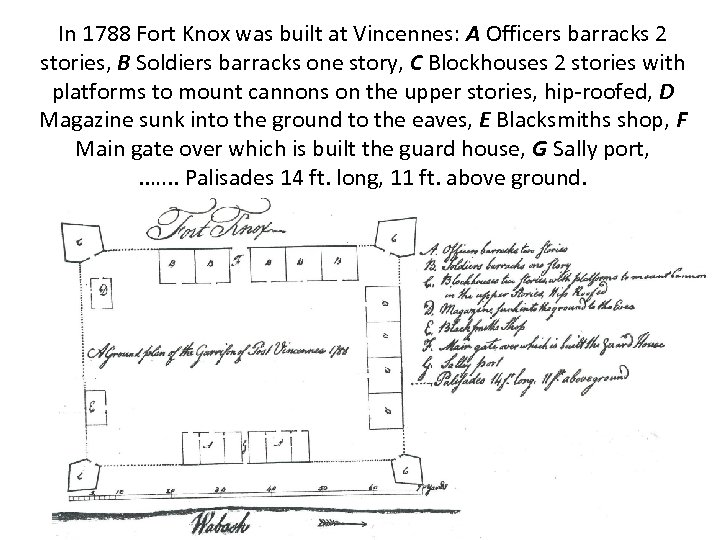 In 1788 Fort Knox was built at Vincennes: A Officers barracks 2 stories, B