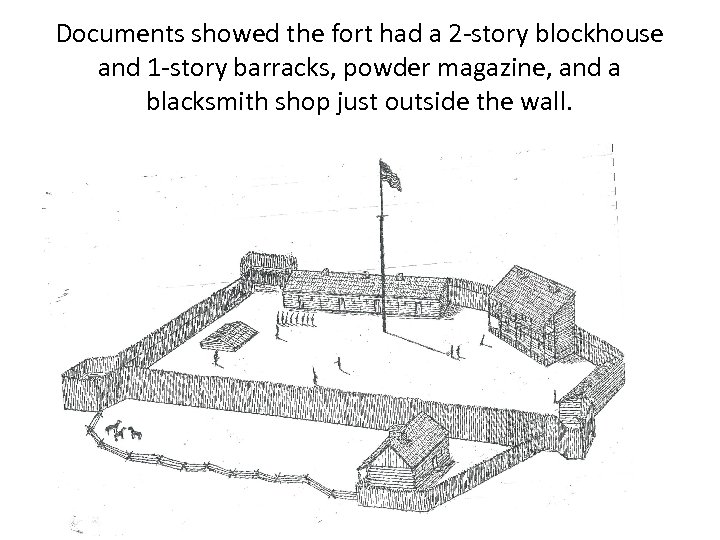 Documents showed the fort had a 2 -story blockhouse and 1 -story barracks, powder