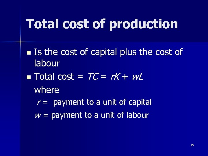 Total cost of production Is the cost of capital plus the cost of labour