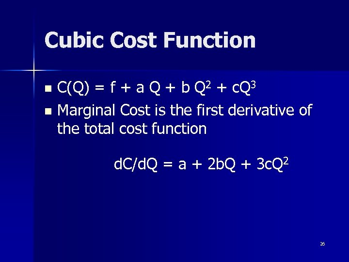 Cubic Cost Function C(Q) = f + a Q + b Q 2 +