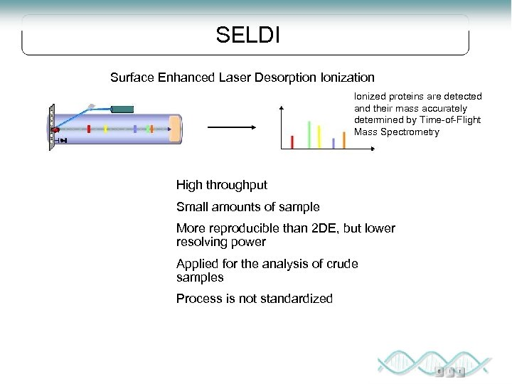 SELDI Surface Enhanced Laser Desorption Ionization Ionized proteins are detected and their mass accurately