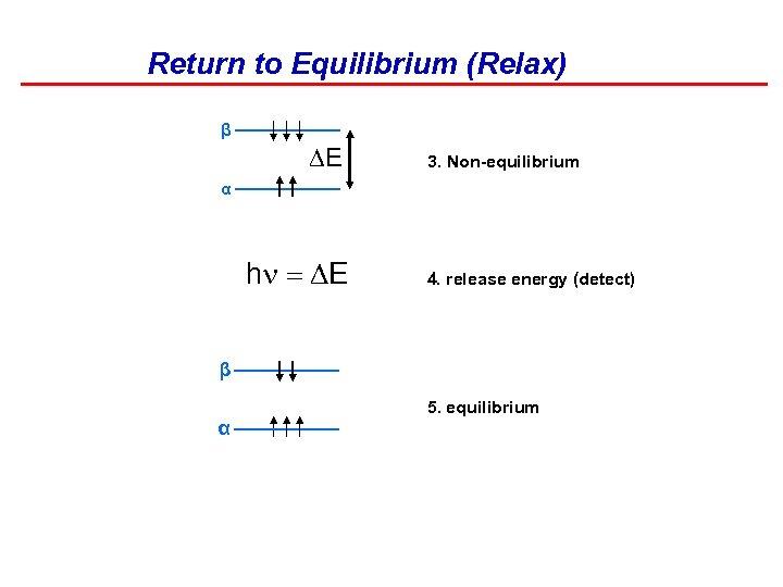 Return to Equilibrium (Relax) β DE 3. Non-equilibrium α h = DE 4. release
