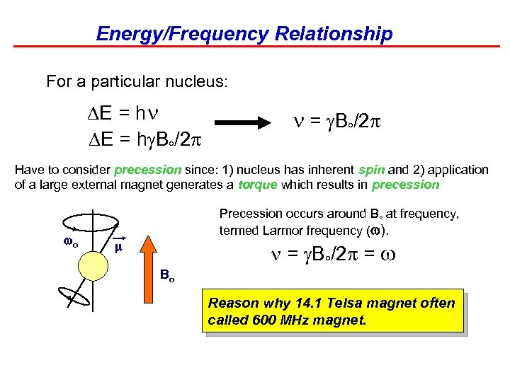 Energy/Frequency Relationship For a particular nucleus: DE = h B /2 = B /2
