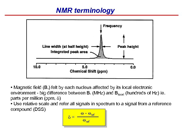 NMR terminology • Magnetic field (B ) felt by each nucleus affected by its