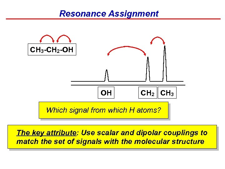 Resonance Assignment CH 3 -CH 2 -OH OH CH 2 CH 3 Which signal