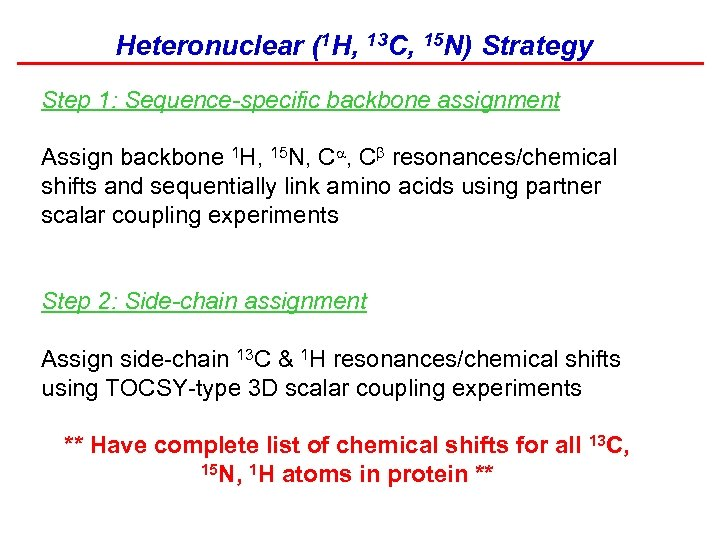 Heteronuclear (1 H, 13 C, 15 N) Strategy Step 1: Sequence-specific backbone assignment Assign