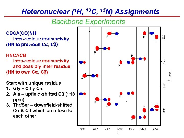 Heteronuclear (1 H, 13 C, 15 N) Assignments Backbone Experiments CBCA(CO)NH - inter-residue connectivity