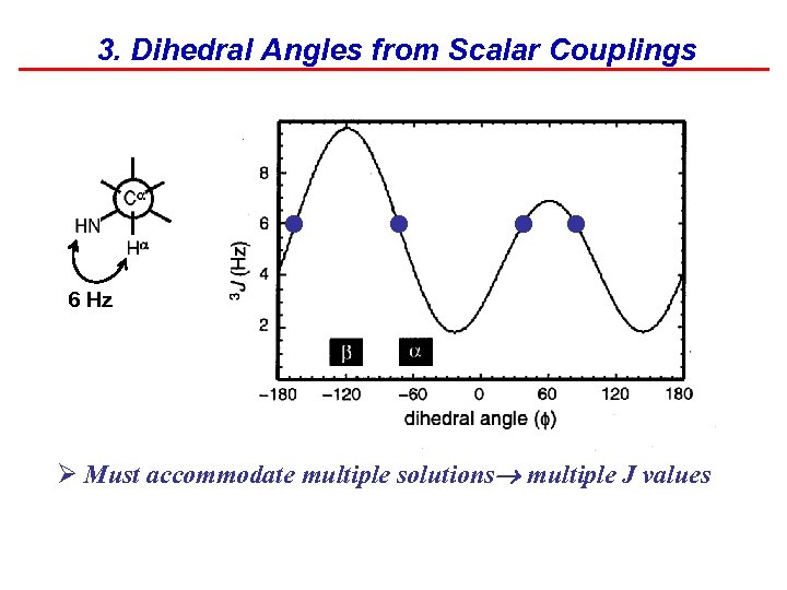 3. Dihedral Angles from Scalar Couplings • • 6 Hz Ø Must accommodate multiple