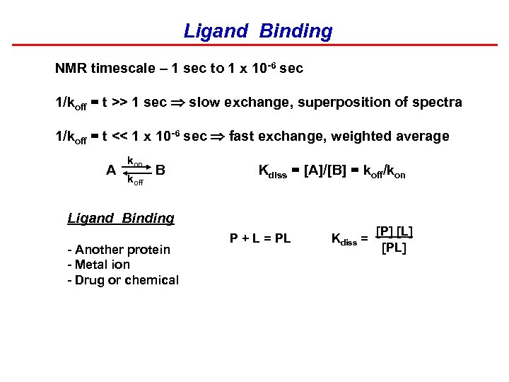 Ligand Binding NMR timescale – 1 sec to 1 x 10 -6 sec 1/koff