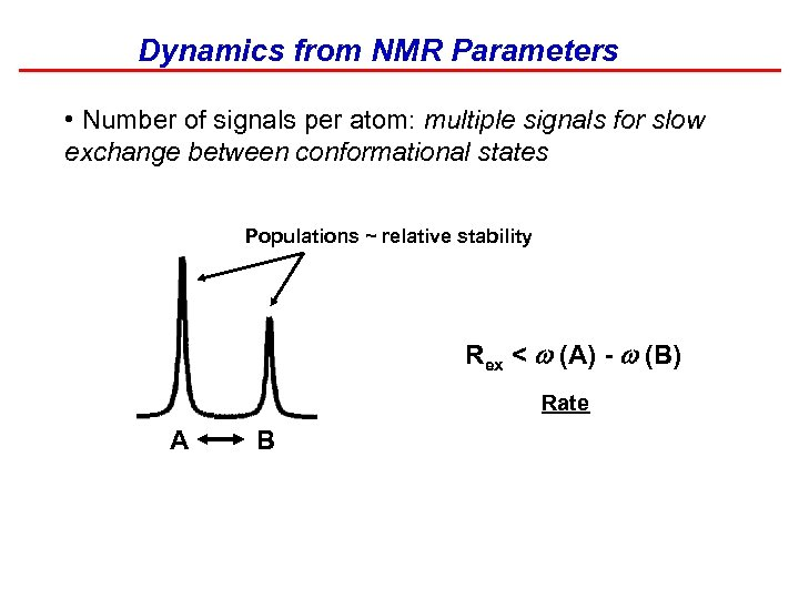 Dynamics from NMR Parameters • Number of signals per atom: multiple signals for slow