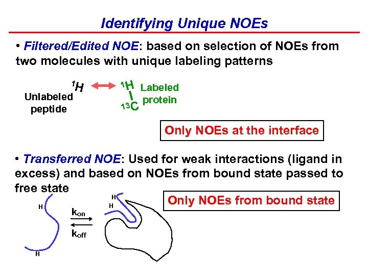 Identifying Unique NOEs • Filtered/Edited NOE: based on selection of NOEs from two molecules