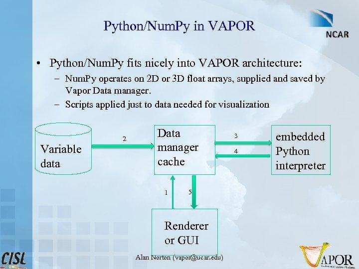 Python/Num. Py in VAPOR • Python/Num. Py fits nicely into VAPOR architecture: – Num.