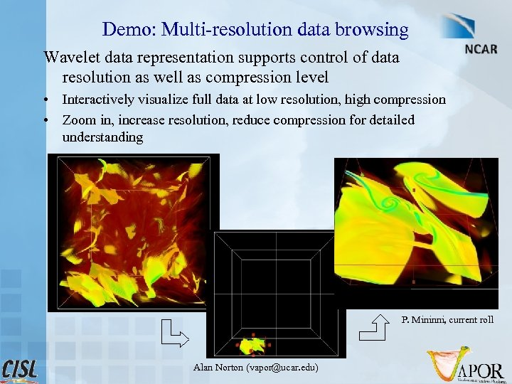 Demo: Multi-resolution data browsing Wavelet data representation supports control of data resolution as well