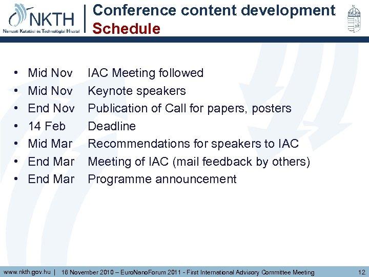 Conference content development Schedule • • Mid Nov End Nov 14 Feb Mid Mar