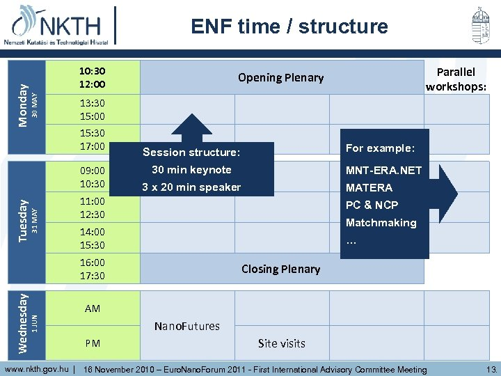 30 MAY Monday ENF time / structure 10: 30 12: 00 13: 30 15: