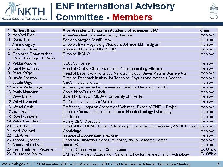 ENF International Advisory Committee - Members 1 2 3 4 5 6 7 8