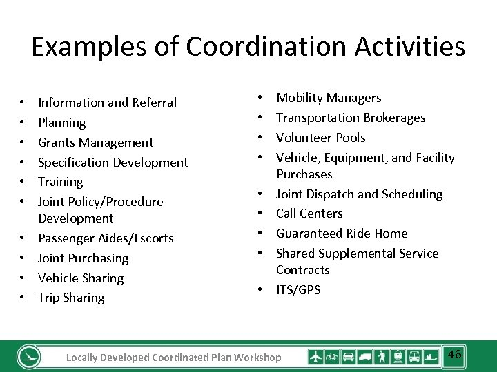 Examples of Coordination Activities • • • Information and Referral Planning Grants Management Specification