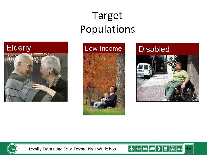 Target Populations Elderly Low Income Locally Developed Coordinated Plan Workshop Disabled 48