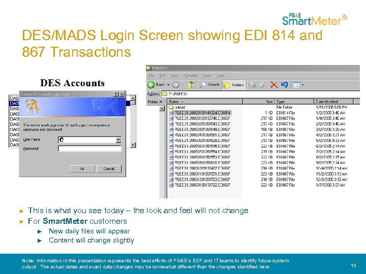 DES/MADS Login Screen showing EDI 814 and 867 Transactions ► ► This is what