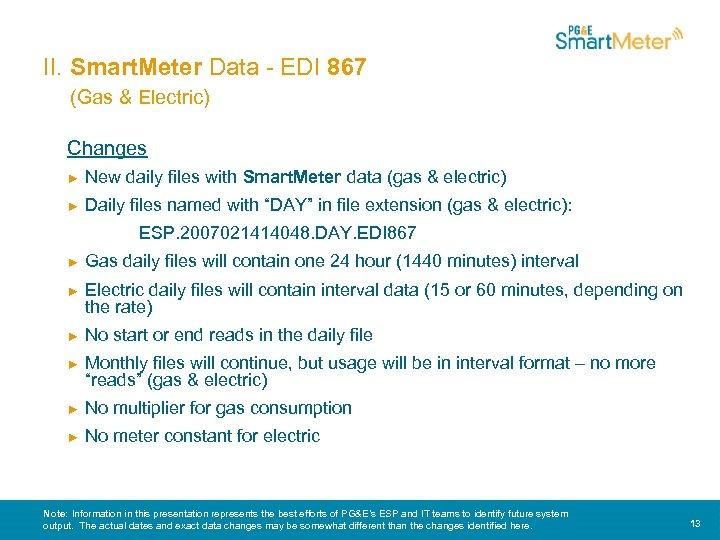 II. Smart. Meter Data - EDI 867 (Gas & Electric) Changes ► New daily