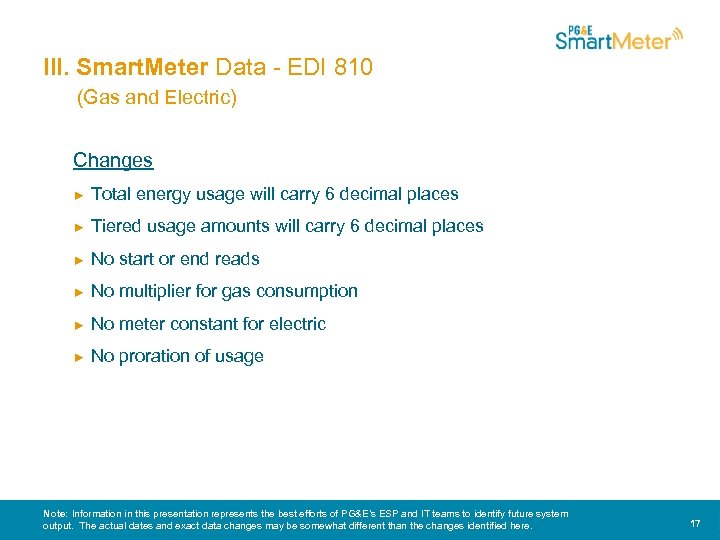 III. Smart. Meter Data - EDI 810 (Gas and Electric) Changes ► Total energy