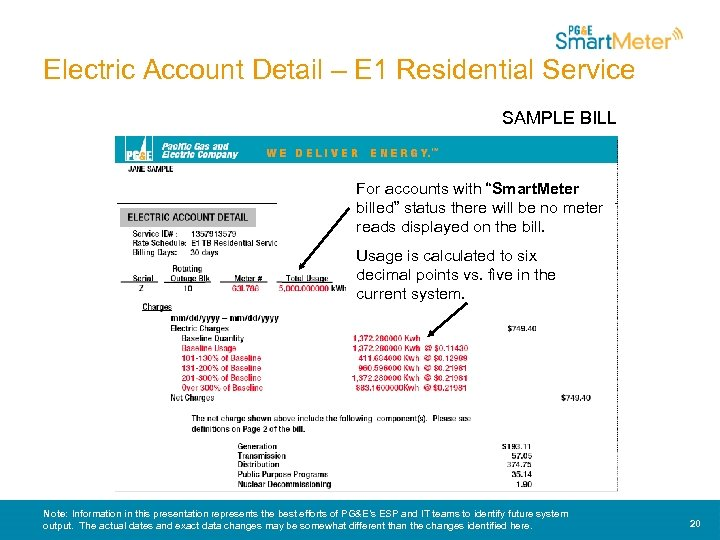 "Electric Account Detail – E 1 Residential Service SAMPLE BILL For accounts with ""Smart."