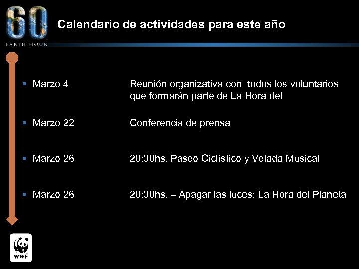 Calendario de actividades para este año § Marzo 4 Reunión organizativa con todos los