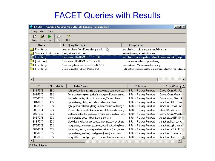 FACET Queries with Results