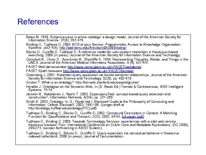 References Bates M. 1986. Subject access in online catalogs: a design model, Journal of