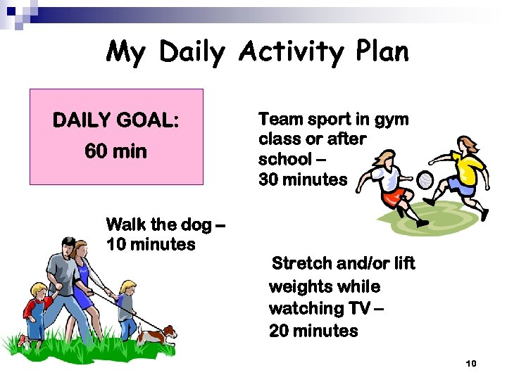 My Daily Activity Plan DAILY GOAL: 60 min Walk the dog – 10 minutes