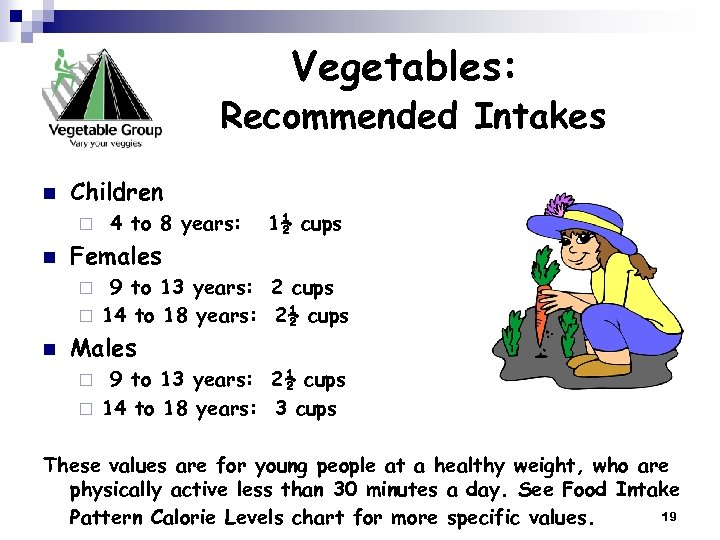 Vegetables: Recommended Intakes n Children ¨ n 4 to 8 years: 1½ cups Females