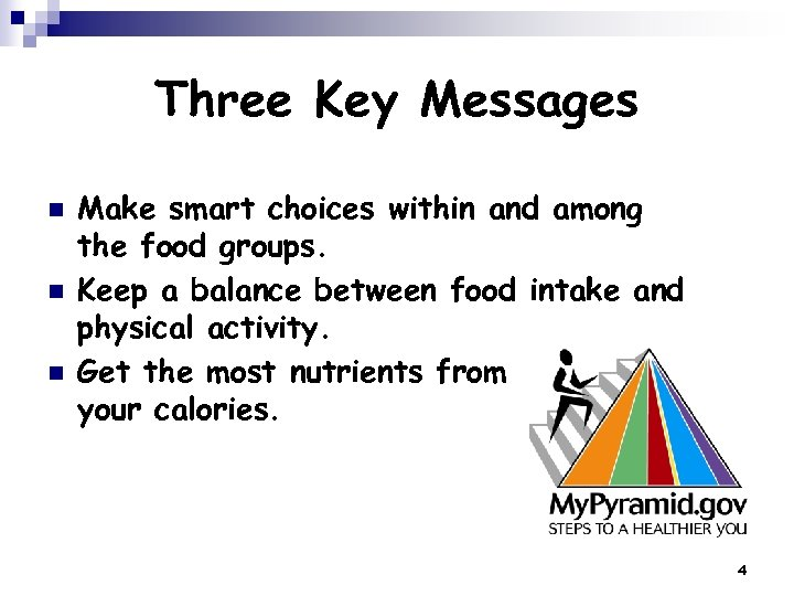 Three Key Messages n n n Make smart choices within and among the food
