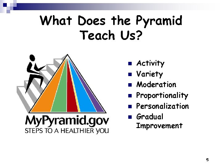 What Does the Pyramid Teach Us? n n n Activity Variety Moderation Proportionality Personalization