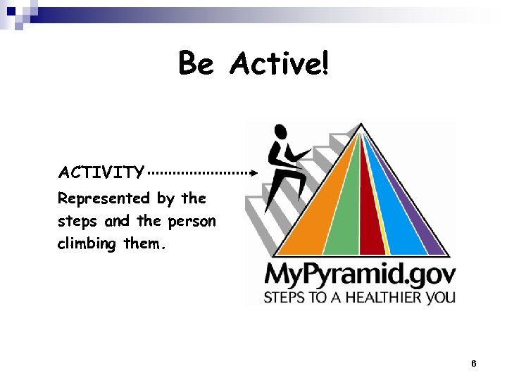 Be Active! ACTIVITY Represented by the steps and the person climbing them. 6