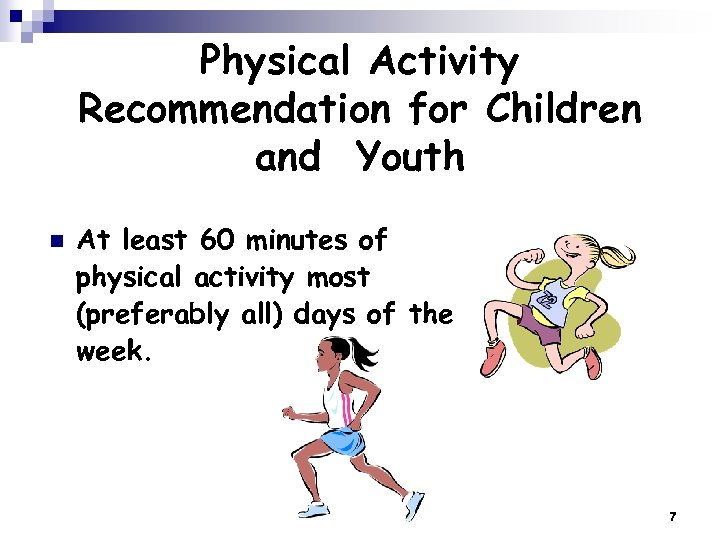 Physical Activity Recommendation for Children and Youth n At least 60 minutes of physical