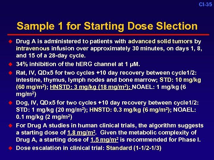 CI-35 Sample 1 for Starting Dose Slection u u u Drug A is administered