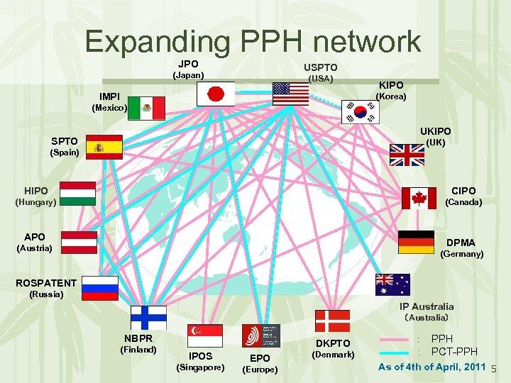 Expanding PPH network JPO USPTO (Japan) (USA) IMPI KIPO (Korea) (Mexico) UKIPO SPTO (UK)