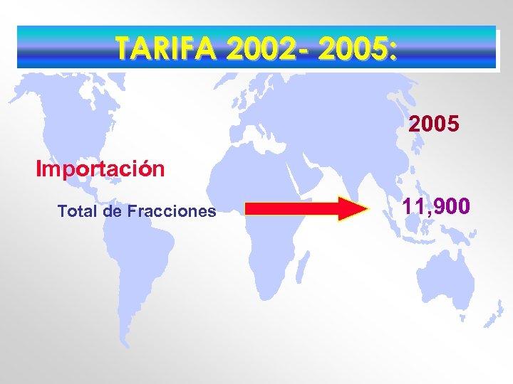 TARIFA 2002 - 2005: 2005 Importación Total de Fracciones 11, 900